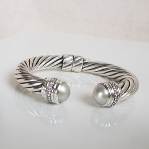 David Yurman 10mm Cable Bracelet With Pearl and Di